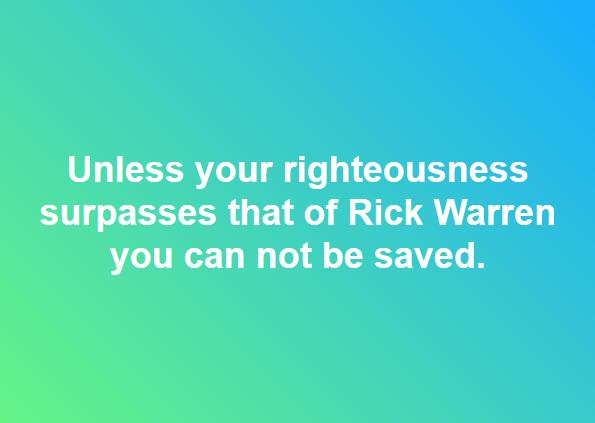 Rick Warren Righteousness